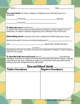 Tone and Mood: Guided Notes, Practice Activities, and Graphic Organizers