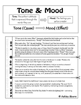 Tone and Mood Lesson & Interactive Notebook Insert
