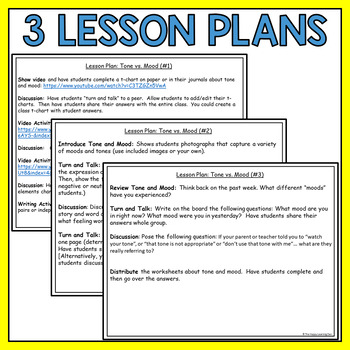 Tone and Mood Lesson Plans, Worksheets, and Activities