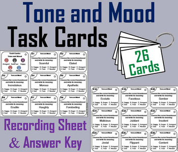 Tone and Mood Task Cards 6th 7th 8th 9th Grade