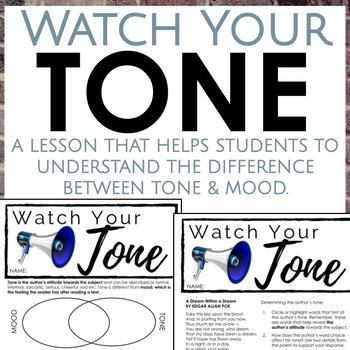 Distance Learning: Tone Worksheets for Middle and High School ELA