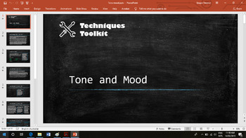 Tone and mood - Techniques Toolkit - Worksheet and PowerPoint