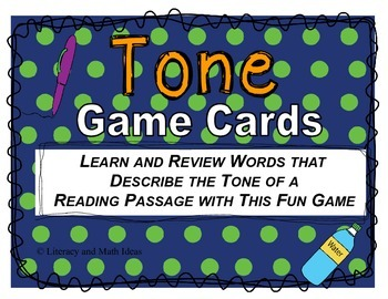 Tone of a Reading Passage Game Cards