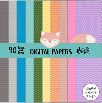 40 Tone-on-Tone Digital Papers - Dots and Chevron