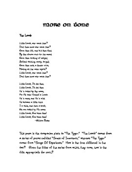 William Blake Explains Tone: A Poetry Comic with Activities Included