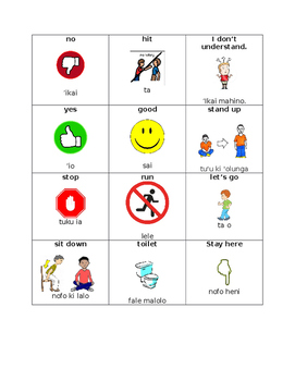 Tongan Communication Cards- ELL Learners - Editable