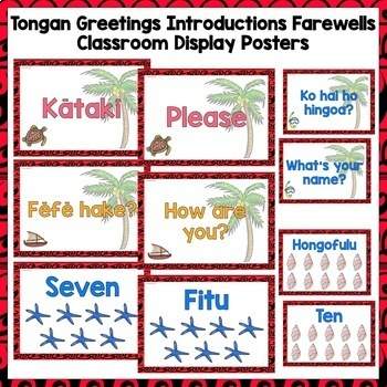 Tongan Greetings Introductions Farewells Classroom Display Posters