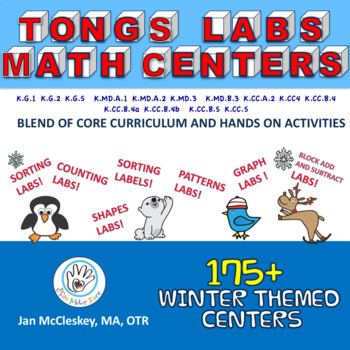 FINE MOTOR:Tongs Lab MATH Centers!  Over 175 Winter Themed Core Curriculum Labs!