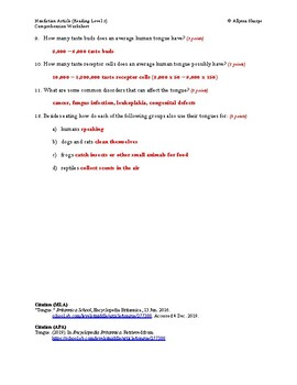 Tongue Article (Reading Level 2) Comprehension Worksheet
