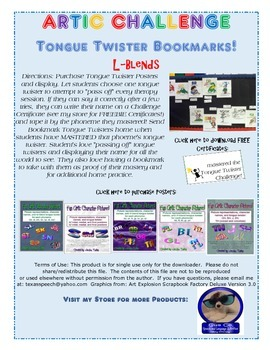 Tongue Twister Artic Bookmarks: L-Blends