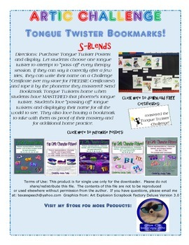 Tongue Twister Artic Bookmarks: S Consonant Clusters