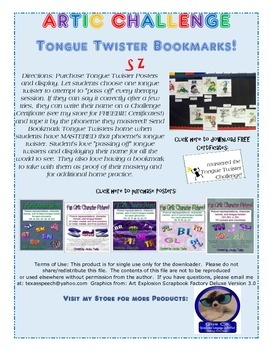 Tongue Twister Artic Bookmarks: S and Z in ALL Word Positions!