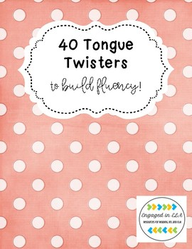Tongue Twister Cards to Build Fluency - UPDATED 9/18!