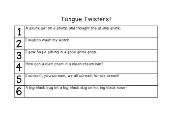 Tongue Twister Game