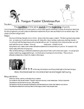 Tongue Twisting Christmas Writing Activty - Alliteration Packet