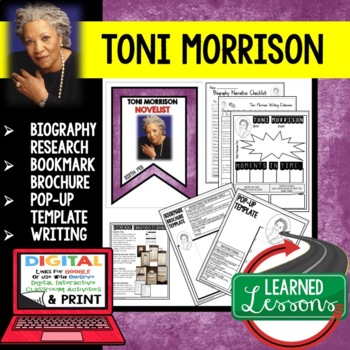 Toni Morrison Biography Research, Bookmark, Pop-Up, Writing