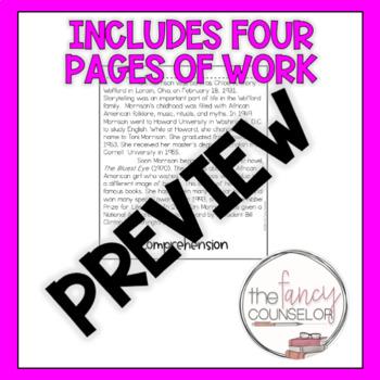 Toni Morrison Black History Month Flipbook Craftivity Biography Activity