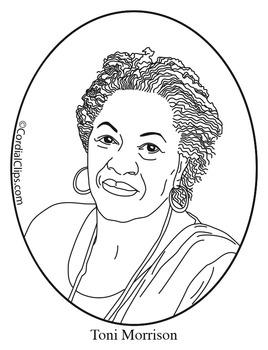 Toni Morrison Clip Art, Coloring Page or Mini Poster