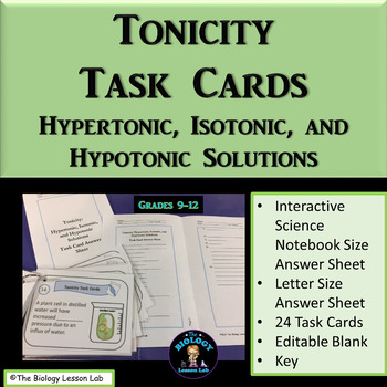 Tonicity Task Cards: Hypertonic, Isotonic, and Hypotonic Solutions