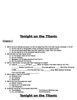 Tonight on the Titanic Comprehension Questions