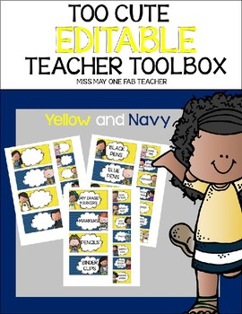 Too Cute Editable Teacher Toolbox Yellow and Navy