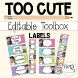 Too Cute Editable Teacher Toolbox Bright Labels