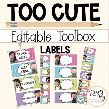 Too Cute Editable Teacher Toolbox Bright Labels
