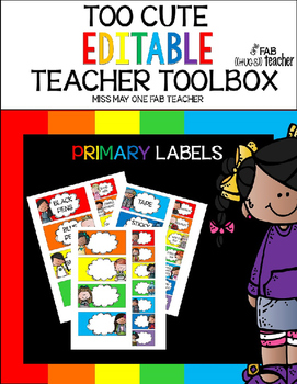 Too Cute Editable Teacher Toolbox (Primary Colors) Labels