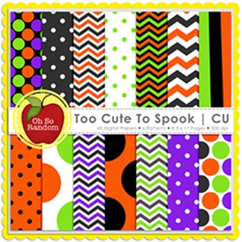Too Cute to Spook Halloween Digital Papers {Papers for Commercial Use}