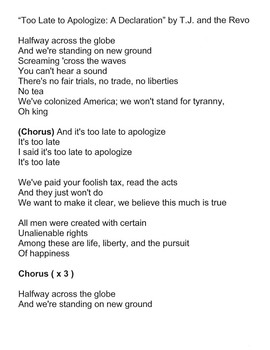 Too Late to Apologize:  A Declaration Song Lyrics