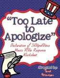 'Too Late to Apologize' Music Video Response Worksheet