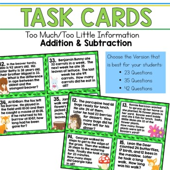 Too Little Information Too Much Information Addition & Subtraction Task Cards