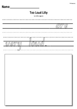 Too Loud Lilly by Sofie Laguna- Text to Self Writing Response Activity Worksheet