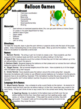 Too Many Balloons Activities and Printables