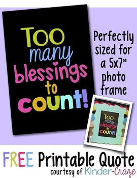 """Too Many Blessings to Count"" inspirational print for framing"