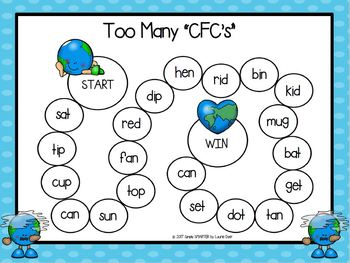 """Too Many """"CFC's"""":  NO PREP Earth Day Themed CVC Words Board Game"""