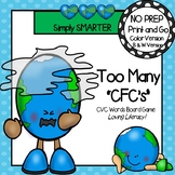 NO PREP Earth Day Themed CVC Words Board Game