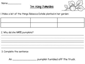 """Too Many Pumpkins"" Comprehension Packet!"