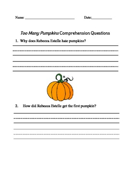Too Many Pumpkins Thematic Unit with Craftivity - First Grade Common Core