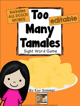 Too Many Tamales {DOLCH sight word game} **editable**