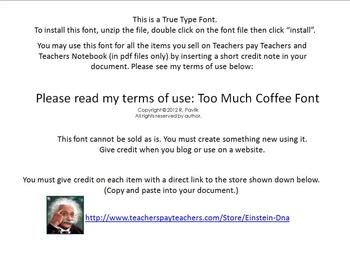 Too Much Coffee~Font