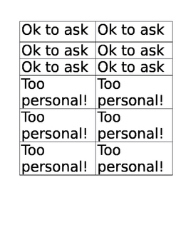 Too personal social skills activity