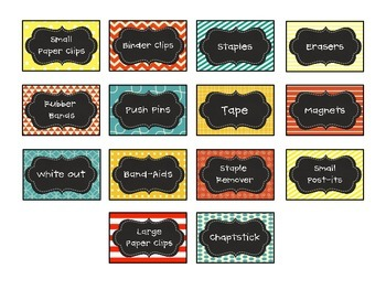 Tool Box Labels (Red, Yellow, & Blue theme)