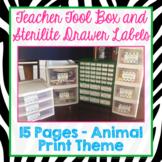 Teacher Tool Box Labels Animal Print