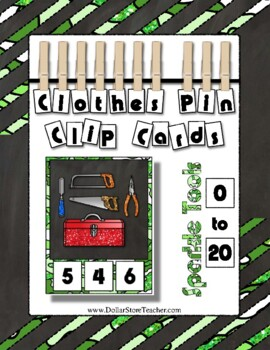 Tool Clip Counting Math Center ~ They Sparkle ~ Add to your Construction Theme