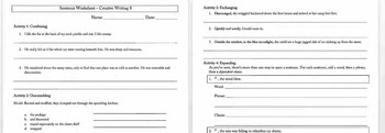 Tool Places, Openers, and Opening Adjectives Worksheet
