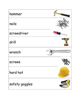 Tool Vocabulary Cards