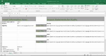 Tool for Creating Compliant Impact of Disability Statements for IEPs