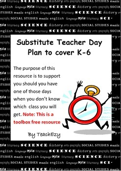 Substitute Teacher Day Plan to cover K-6