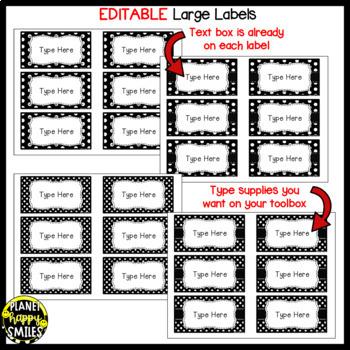 Toolbox Labels (Editable) ~ Black and White Polka Dot